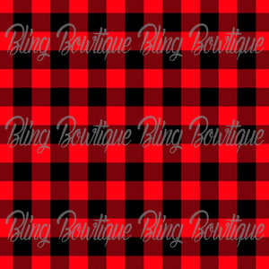 Red Plaid Glitter Canvas, Regular Canvas, Faux Leather For Bows