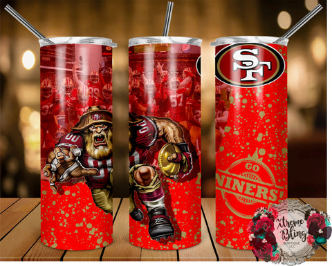 San Francisco 49ers (C) Ready To Press Sublimation Print for 20oz Straight Skinny Tumbler or 20oz Tapered Skinny Tumbler (W)