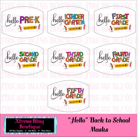 Back To School Face Mask ( can be personalized with childs' name)