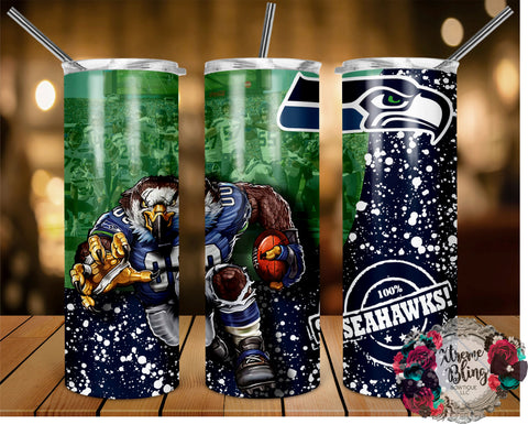 Seattle Seahawks (C) Ready To Press Sublimation Print for 20oz Straight Skinny Tumbler or 20oz Tapered Skinny Tumbler (W)