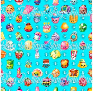 Shopkins Blue Printed Glitter Canvas, Regular Canvas, Faux Leather For Bows