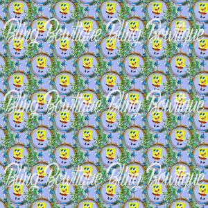 Spongebob 3 Glitter Canvas, Regular Canvas, Faux Leather For Bows