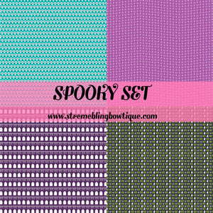 Spooky Set Glitter Canvas, Regular Canvas, Faux Leather For Bows