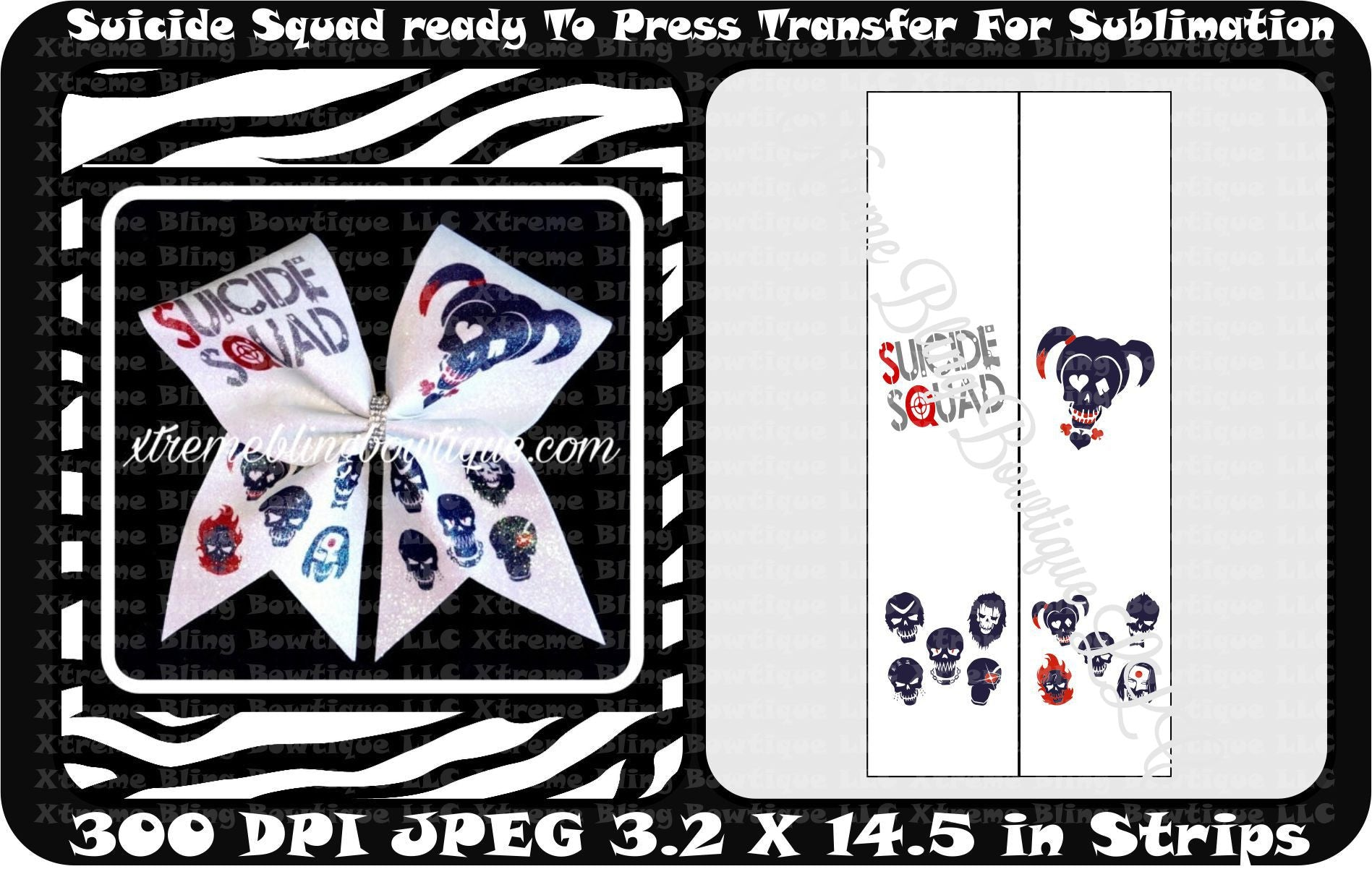 Suicide Squad 2 Ready to Press Sublimation Bow Strips