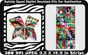 Suicide Squad 1 Cheer Bow Sublimation Strips Download