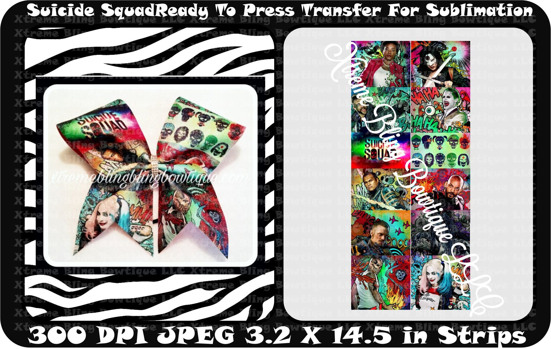 Suicide Squad Cartoon Ready to Press Sublimation Bow Strips