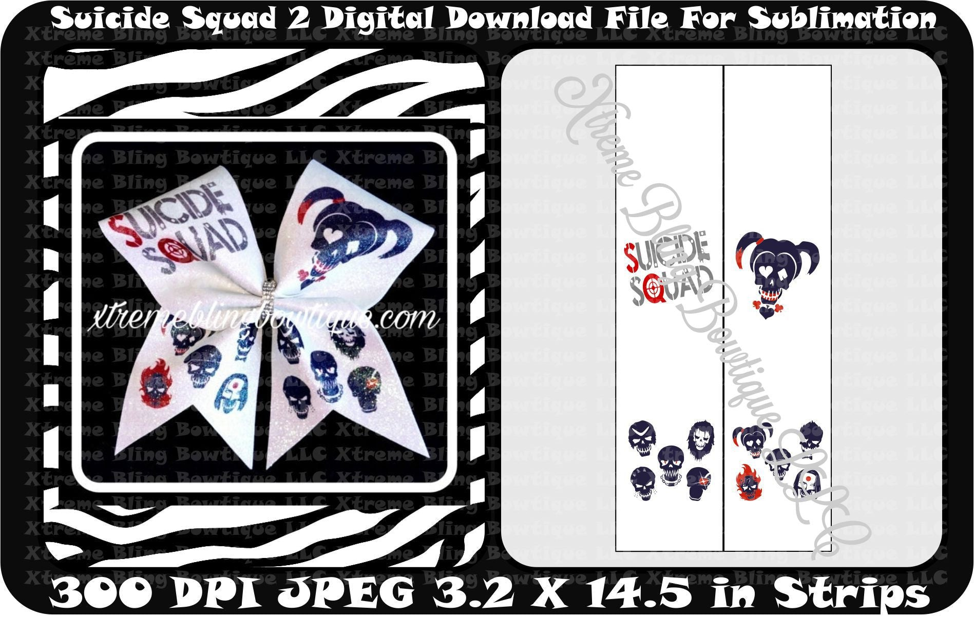 Suicide Squad 2 Cheer Bow sublimation Strips Download