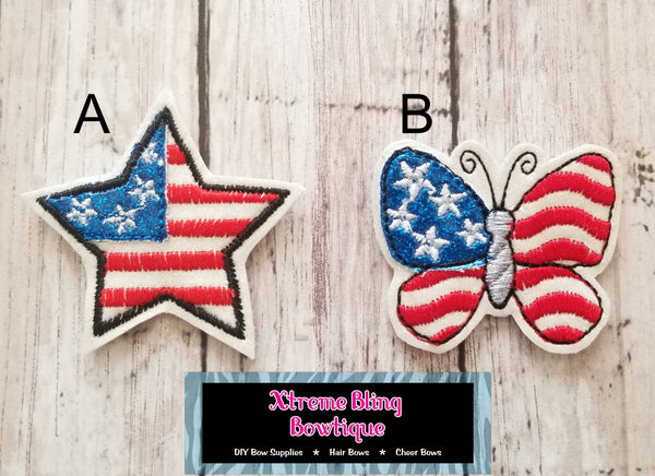 Patriotic Butterfly or Star Bow Center