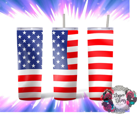 US Flag Ready To Press Sublimation Print for 20oz Straight Skinny Tumbler