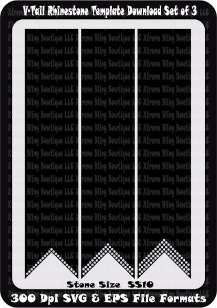 V-Tail Cheer Bow Rhinestone Template Download Set of 3