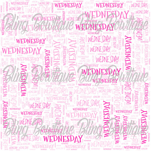 Wednesday Collage Printed Glitter Canvas, Regular Canvas, Faux Leather For Bows