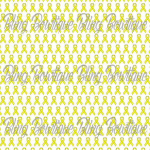 Yellow Awareness Ribbon Printed Glitter Canvas, Regular Canvas, Faux Leather For Bows