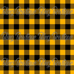 Yellow Plaid Glitter Canvas, Regular Canvas, Faux Leather For Bows