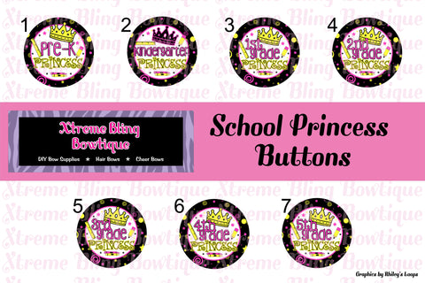 Back to School Princess Button Flat Back, Pin Back, Magnet or Bottle Cap