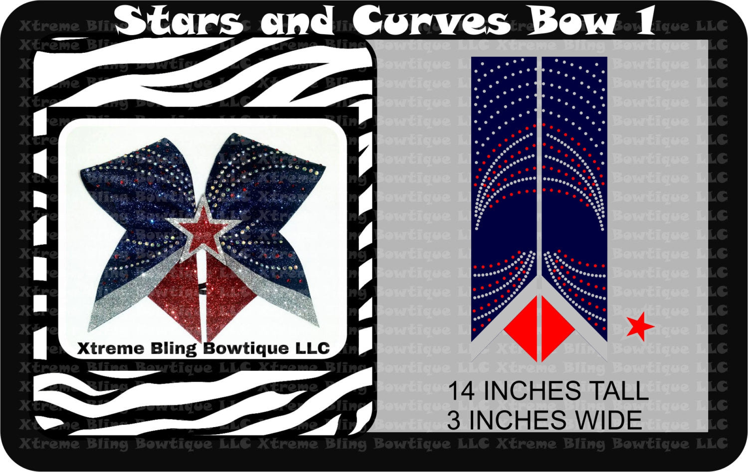 Stars and Curves 1 Cheer Bow Template Download