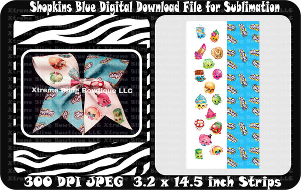 Shopkins Blue Sublimation Bow Strips Download