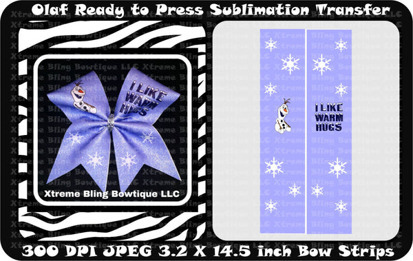 Olaf Ready to Press Sublimation Bow Strips