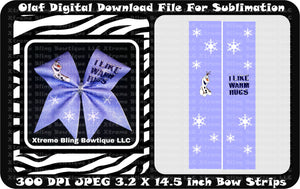Olaf Sublimation Bow Strips Download
