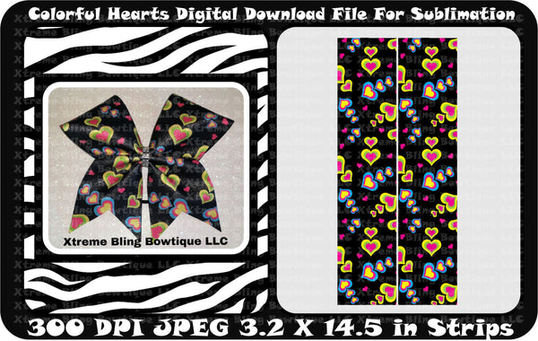 Colorful Hearts Sublimation Cheer Bow Strips Download
