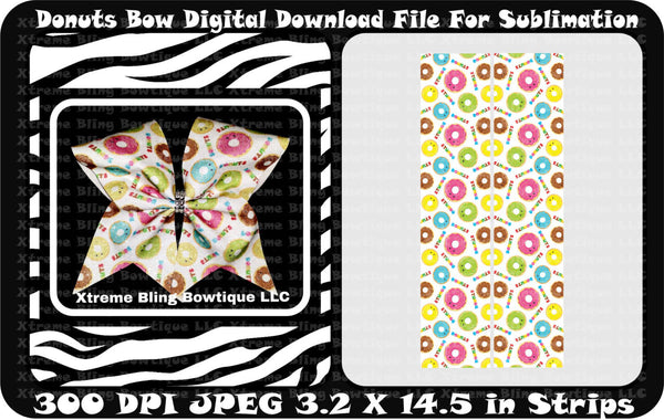 Donuts Sublimation Cheer Bow Strips Download
