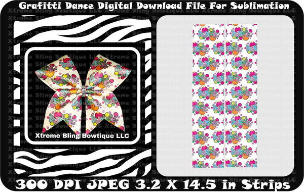 Grafitti Dance Sublimation Cheer Bow Strips Download