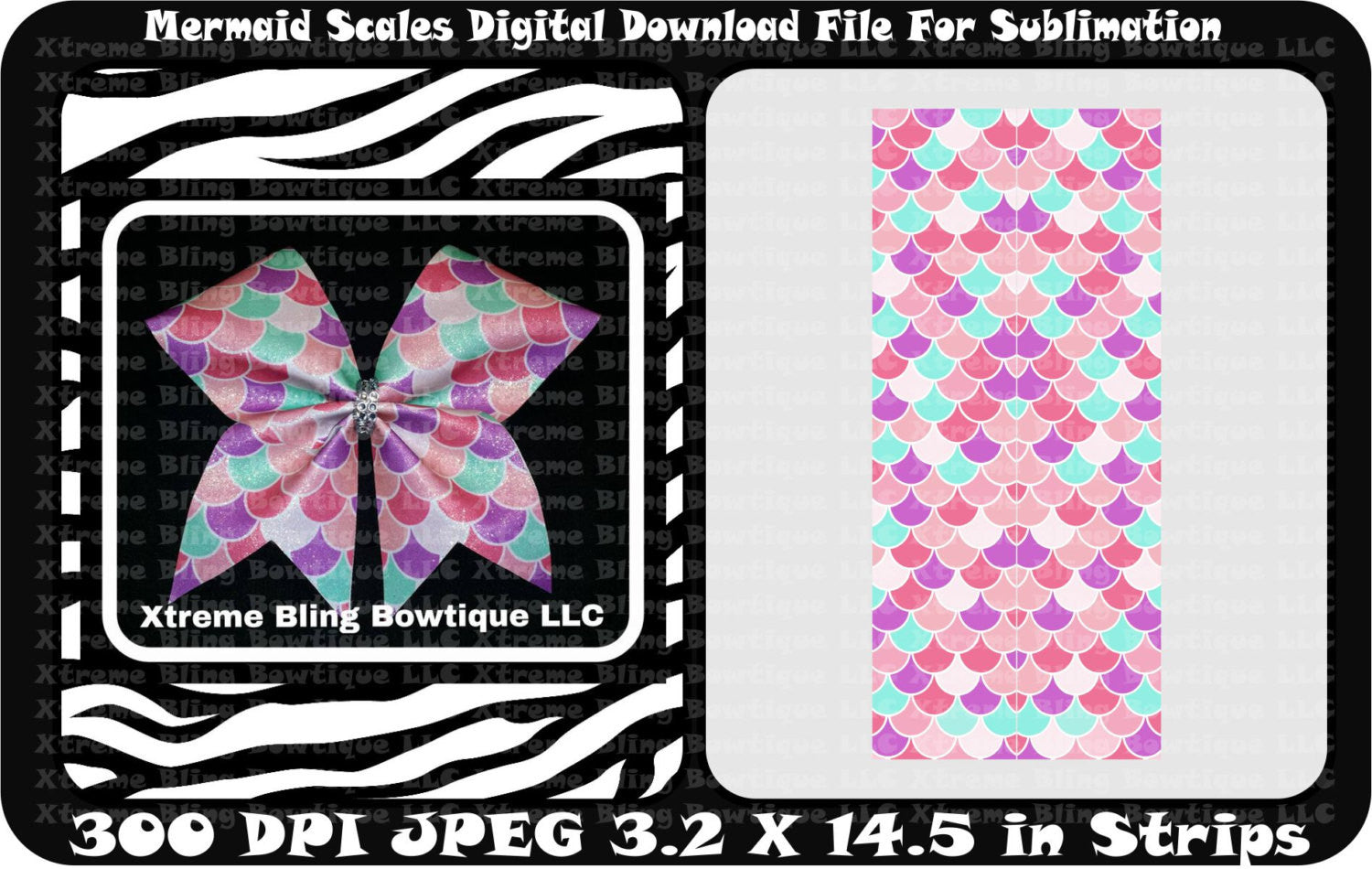 Mermaid Scallops Sublimation Cheer Bow Strips Download