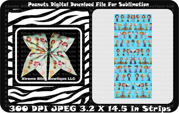 Peanuts Sublimation Cheer Bow Strips Download