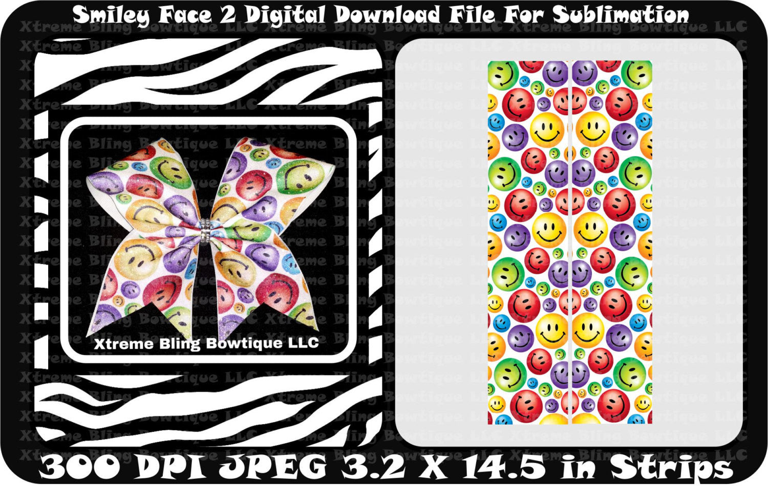 Smiley Face 2 Bow Sublimation Cheer Bow Strips Download