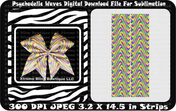 Psychadelic Waves Bow Sublimation Cheer Bow Strips Download
