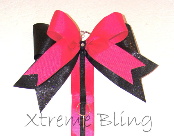 Bright Pink & Black Bow Holder/Cheer Bow Holder