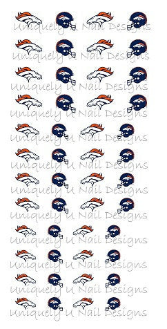 Denver Bronco Nail Decals Set 1