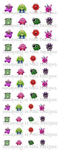 Cute Monsters Nail Decals