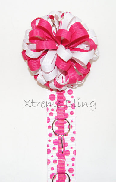 Hot Pink Dots Bow Holder/Cheer Bow Holder