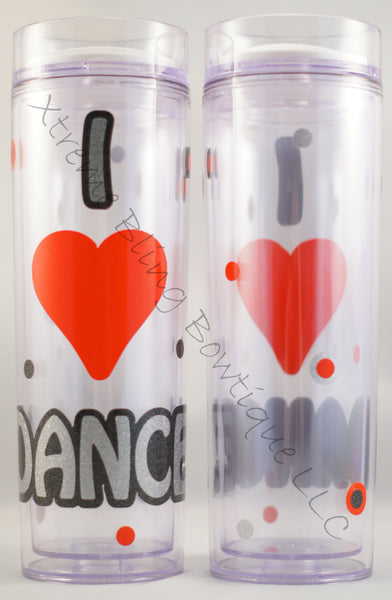 I Love Dance Double Wall Waterbottle