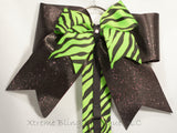 Green Zebra Cheer Bow/ Hairbow Holder