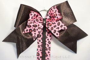 Pink Cheetah Cheer Bow/ Hairbow Holder