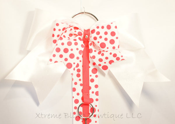 Pink Dots Cheer Bow/ Hairbow Holder
