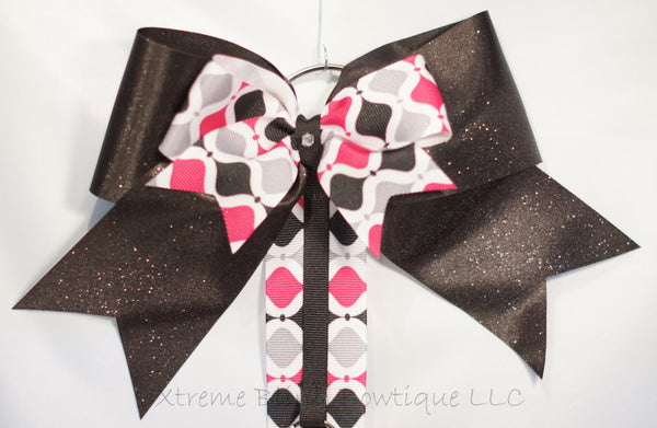 Bright Pink and Black Geometric Cheer Bow/ Hairbow Holder