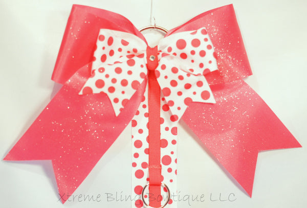 Bright Pink Dots Cheer Bow/ Hairbow Holder