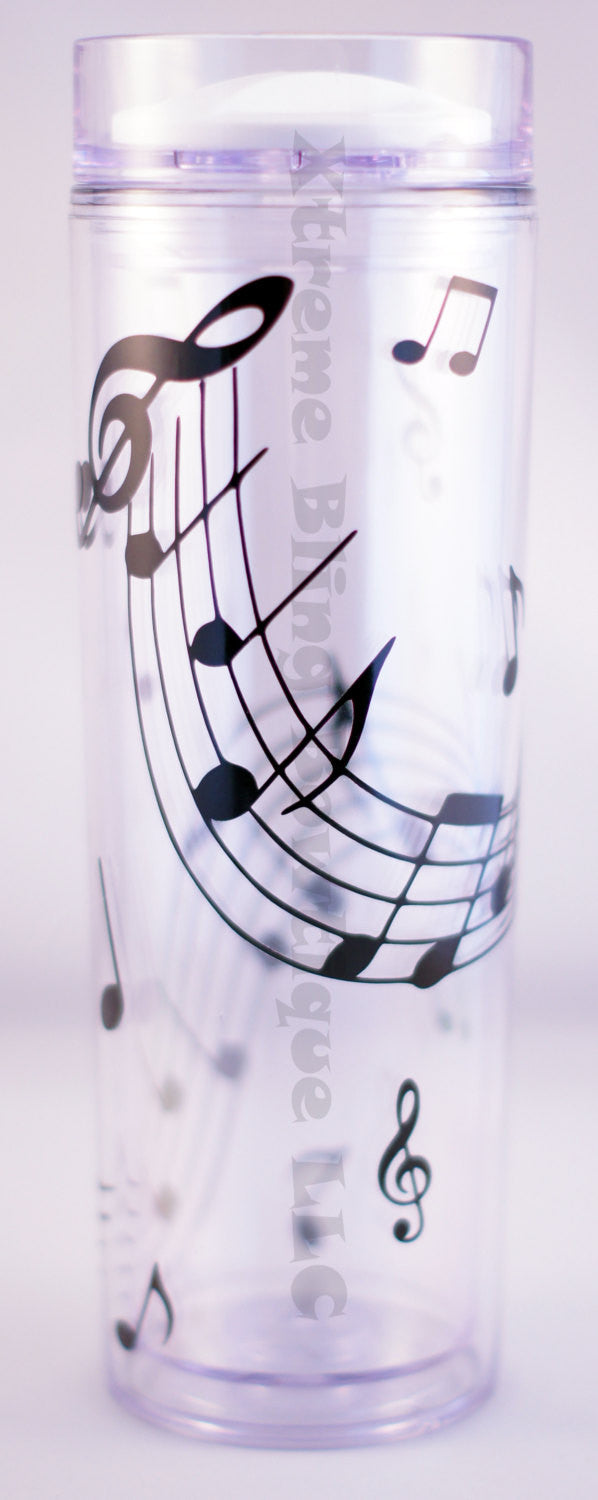 Music Notes 16 Oz Double Wall Waterbottle