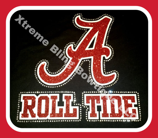 Alabama Roll Tide TShirt with Glitter Vinyl and Rhinestones