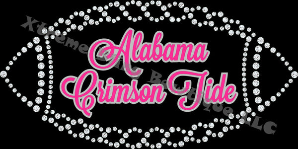 College Rhinestone/Glitter T-Shirt Pink w/Silver Version (All College Teams Available)