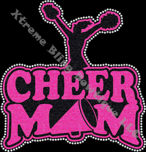 Cheer Mom Shirt with Megaphone and Rhinestones.