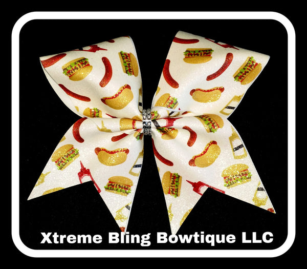Cheer Bow --Hot Dogs and Hamburgers Cheer Bow