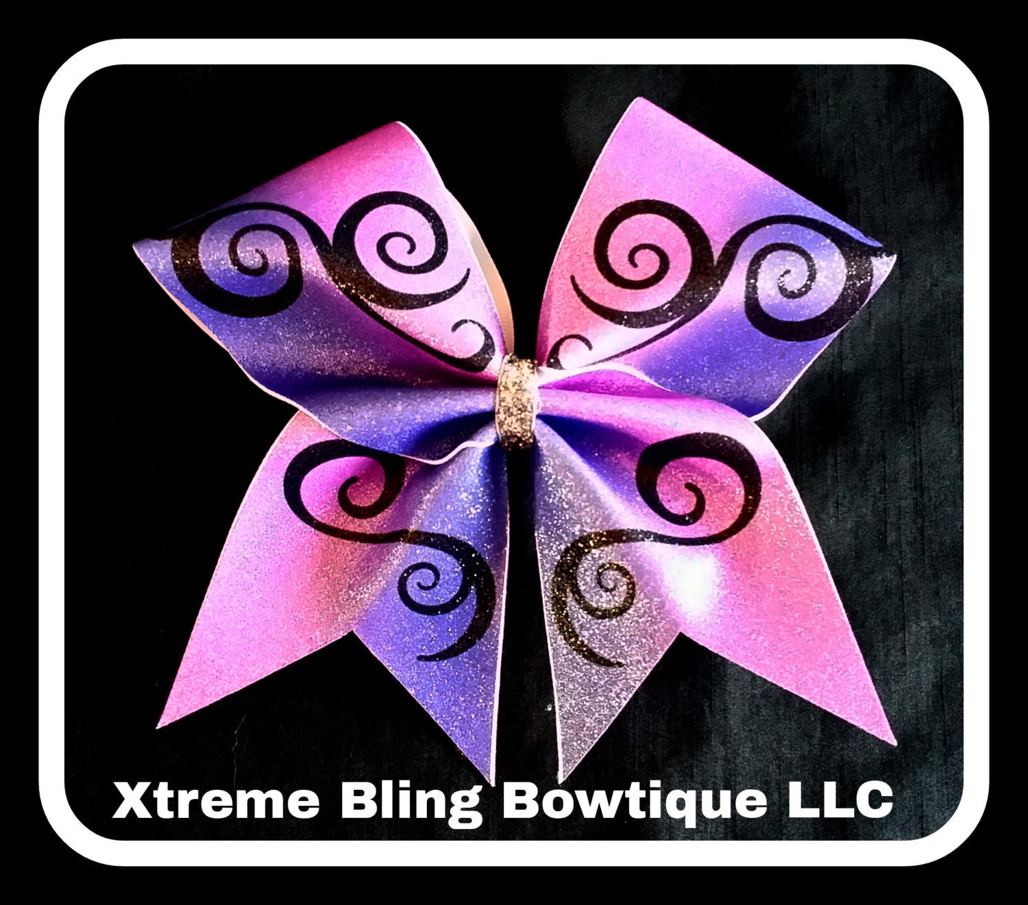 Cheer Bow --Pink and Purple Swirl Cheer Bow