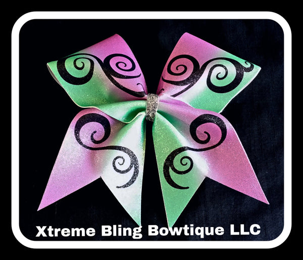 Cheer Bow --Pink and Teal Swirl Cheer Bow
