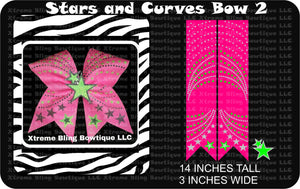 Stars and Curves 2 Cheer Bow Template Download