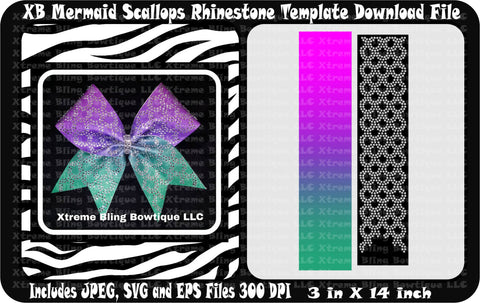 XB Mermaid Scallops Cheer Bow Template Download