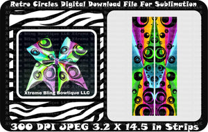 Retro Circles Sublimation Cheer Bow Strips Download