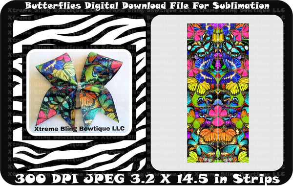 Butterflies Sublimation Bow Strips Download
